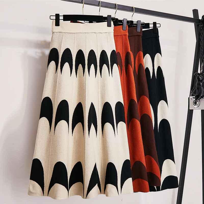 Skirts winter autumn 2019 skirts womens knitting wool pleated long