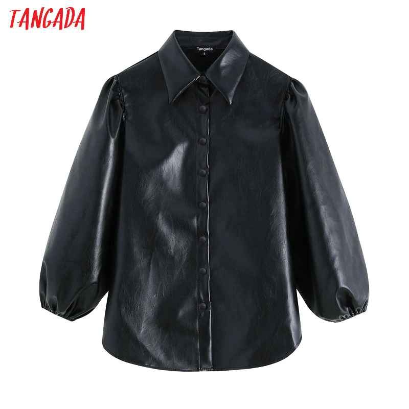 Blouses tangada women faux leather black shirts 2019 new arrival