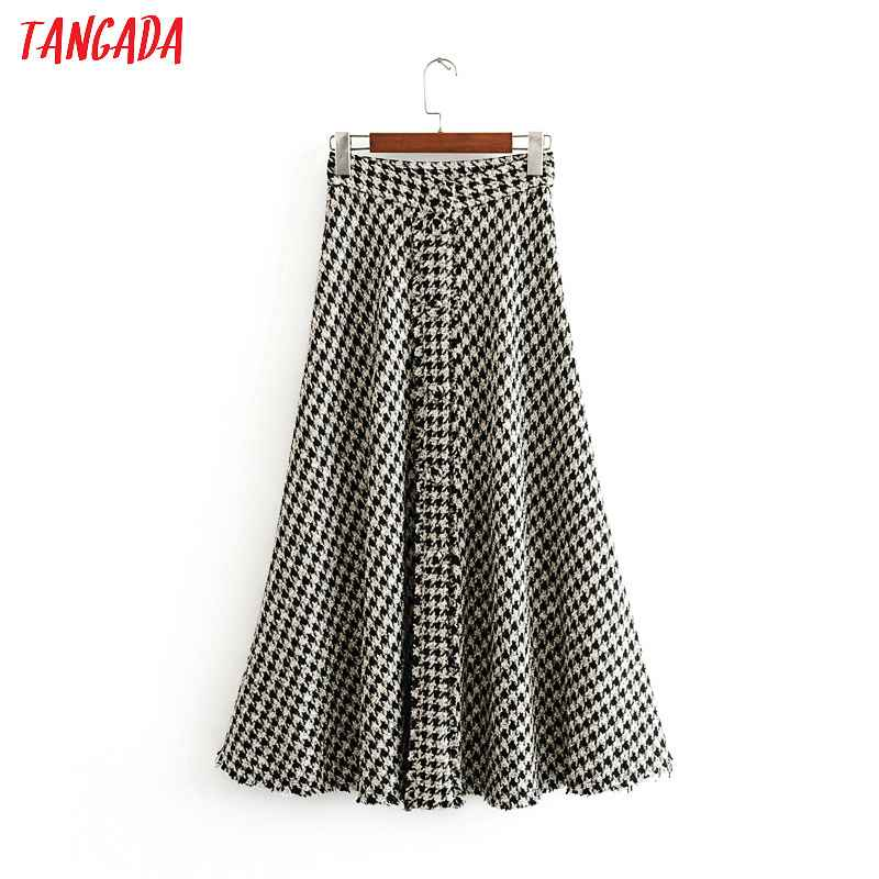 Skirts tangada female plaid midi skirt winter elegant office ladies