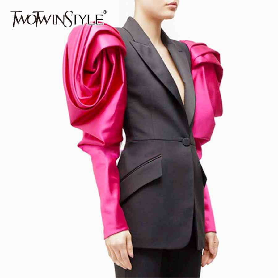 Patchwork Hit Color Women's Blazer Puff Sleeve Notched Female Blazers