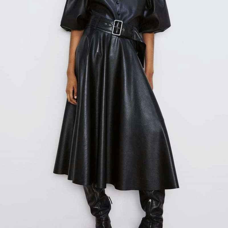 Skirts 2019 new fashion women autumn winter pu faux leather