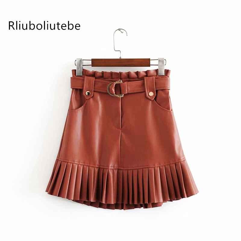 Skirts sexy pu leather mini skirts with belt autumn winter
