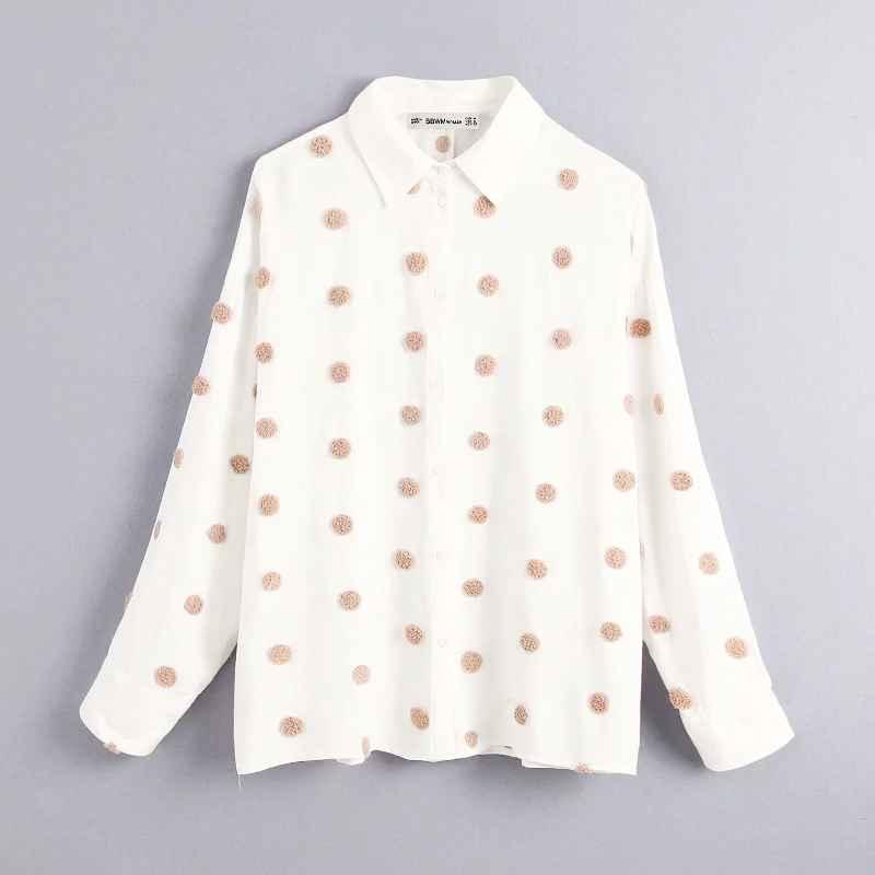 Blouses 2019 women sweet fur ball appliques casual business blouse