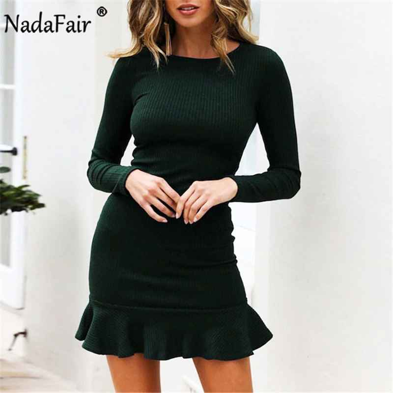 Sweaters nadafair long sleeve casual ruffles autumn winter dress women