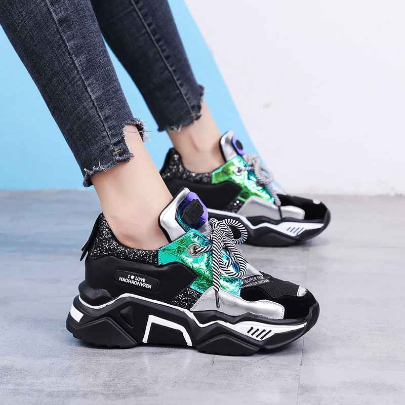 Women Mesh New Autumn Chunky Sneakers Ladies Flat Lace Up