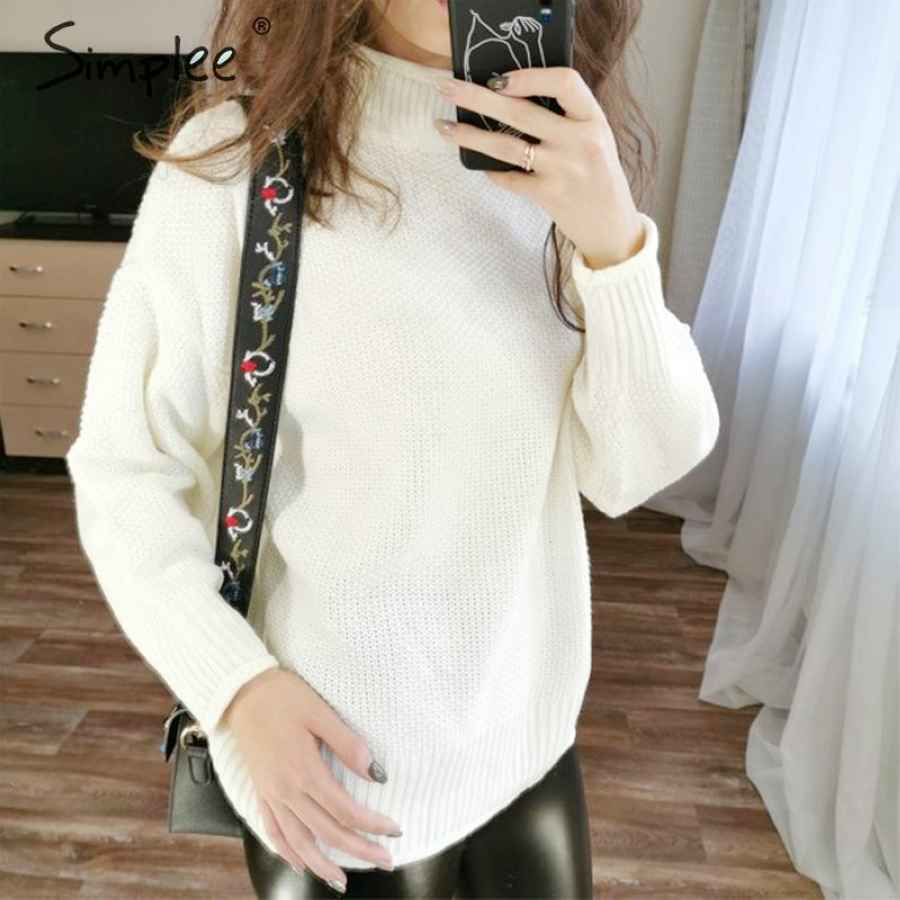 Turtleneck White Women Pullover Sweater Autumn Winter Long Sleeve Oversize