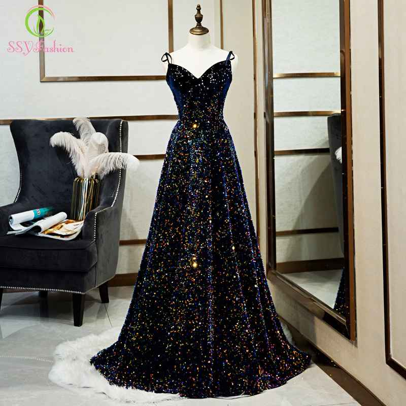 New Luxury Evening Dress Banquet Gorgeous Navy Blue Slim V-Neck