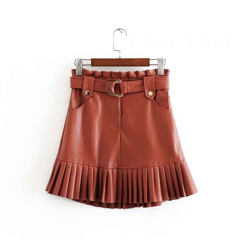 Skirts stylish chic pu leather mini skirt with belt za