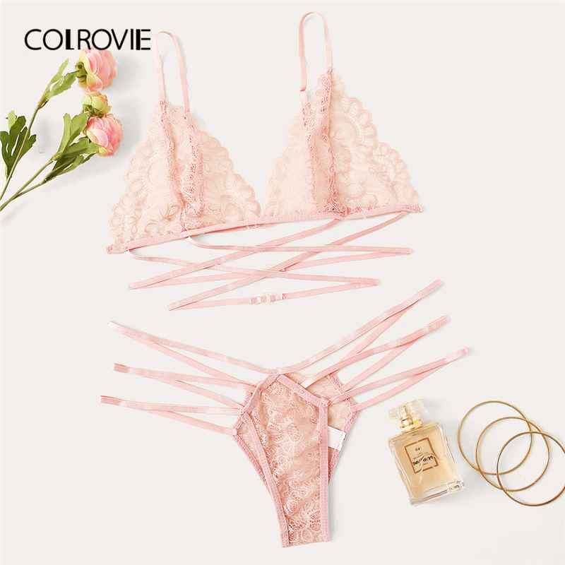 Colrovie Pink Floral Lace Ladder Cut-Out Lingerie Set Women Intimates