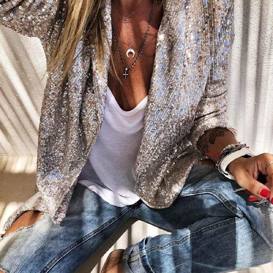 Blazers sequins long sleeved blazers fashion women shiny party blazer