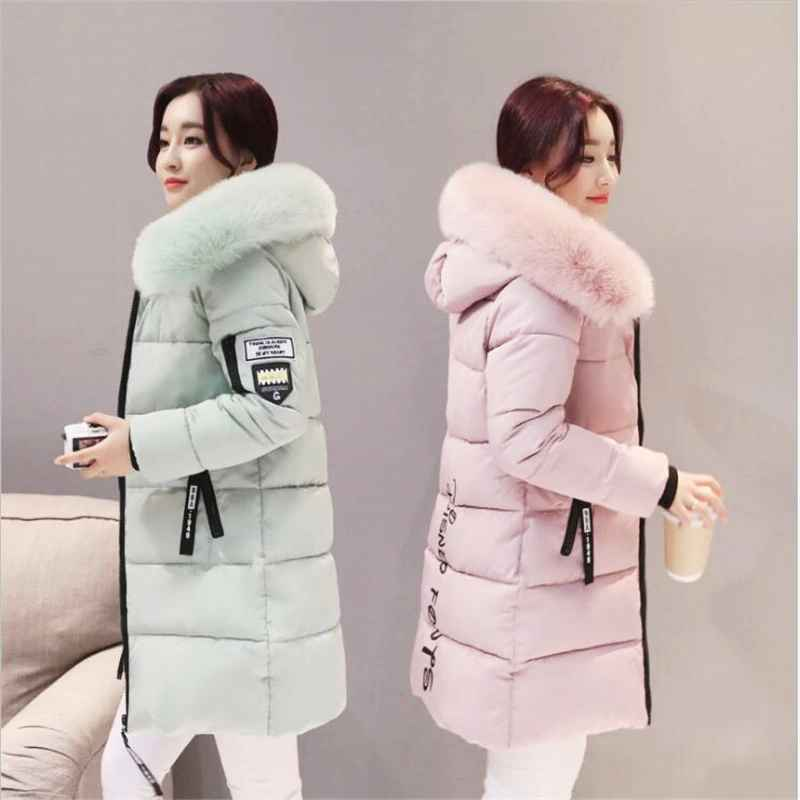 Coats parka women winter coats long cotton casual fur hooded