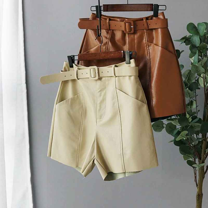 Shorts pu leather short high waist bermuda shorts 2019 autumn