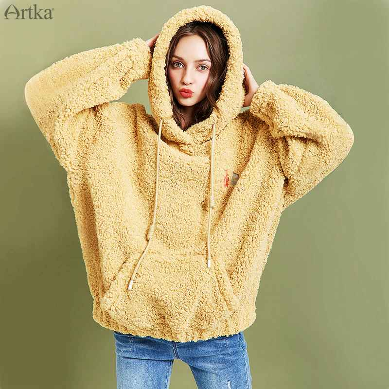 Artka 2019 Winter New Women Sweatshirt Thicken Teddy Plush Embroidery