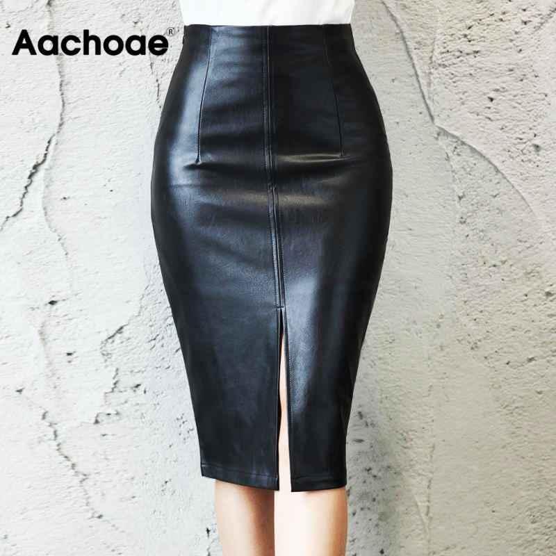 Skirts black pu leather skirt women 2019 new midi sexy