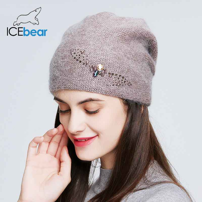Icebear Winter Knitted Hats For Women Russia Casual Beanies Angora