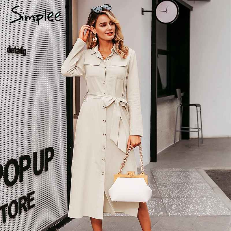 Streetwear Long Party Dress Lapel Bow Loose Cotton Maxi Dress