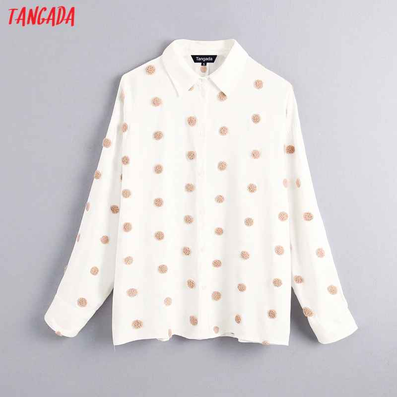 Blouses tangada women vintage oversized dots embroidery blouse long sleeve