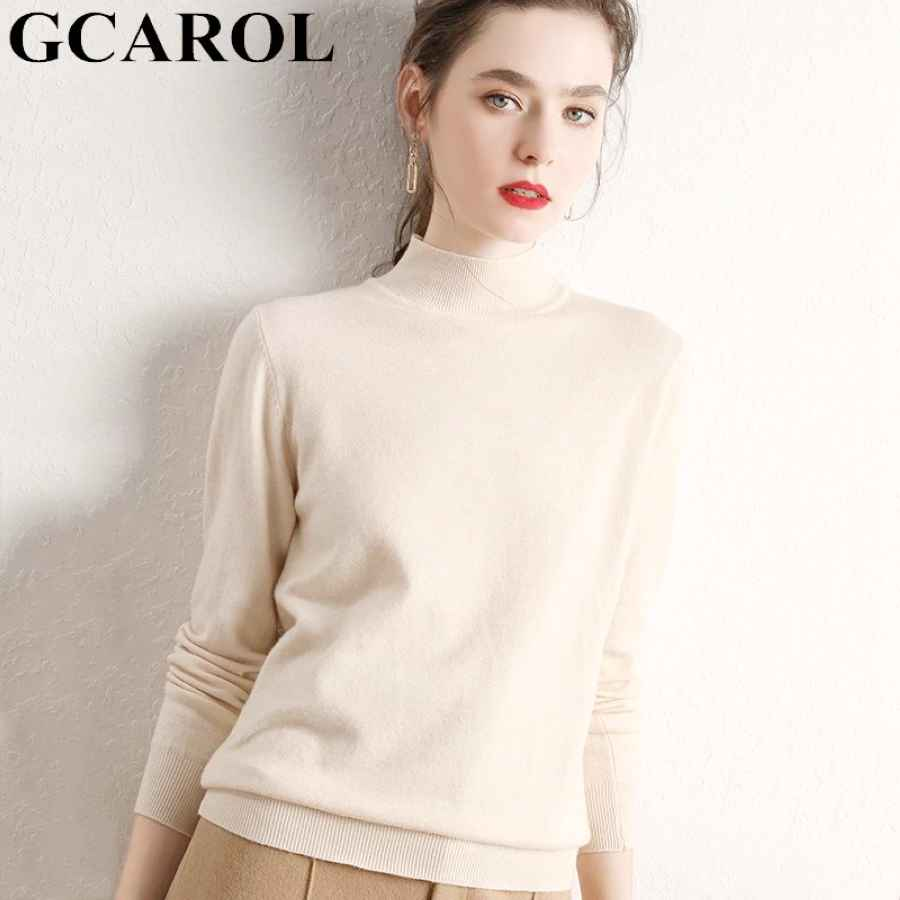 Gcarol Women Half Turtleneck Sweater 30% Wool Thick Warm Jumper