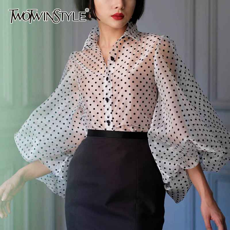 Vintage Polka Dot Long Puff Sleeve Womens Tops And Blouses