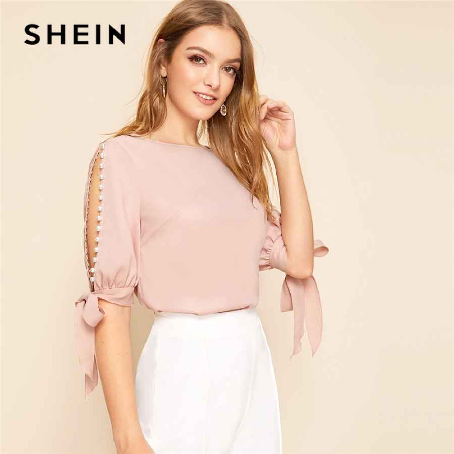 Solid Pearls Beading Side Knot Cuff Elegant Blouse Women Tops