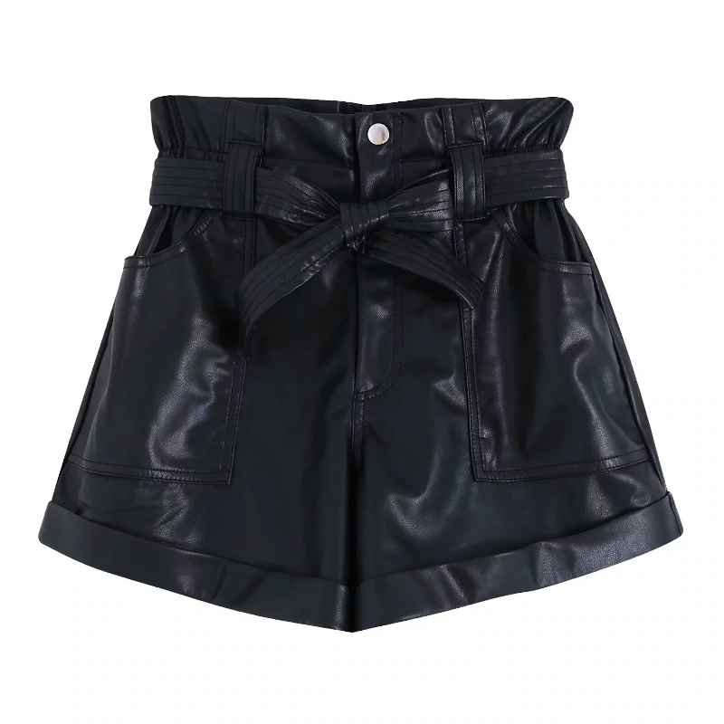 Shorts women bow sahes pu leather bermuda shorts ladies high