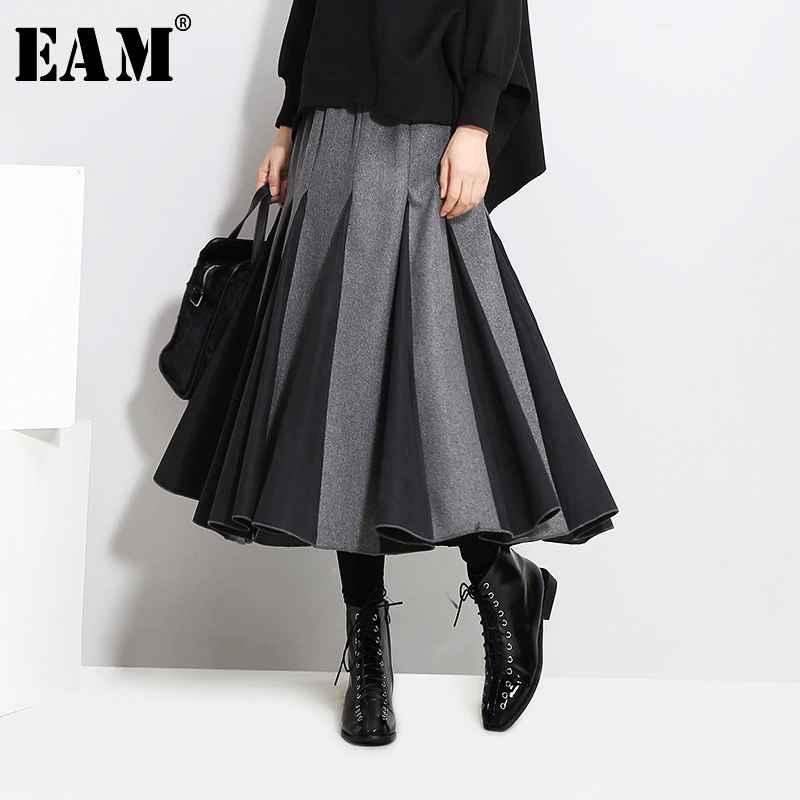 Skirts eam high elastic waist gray split joint temperament woolen