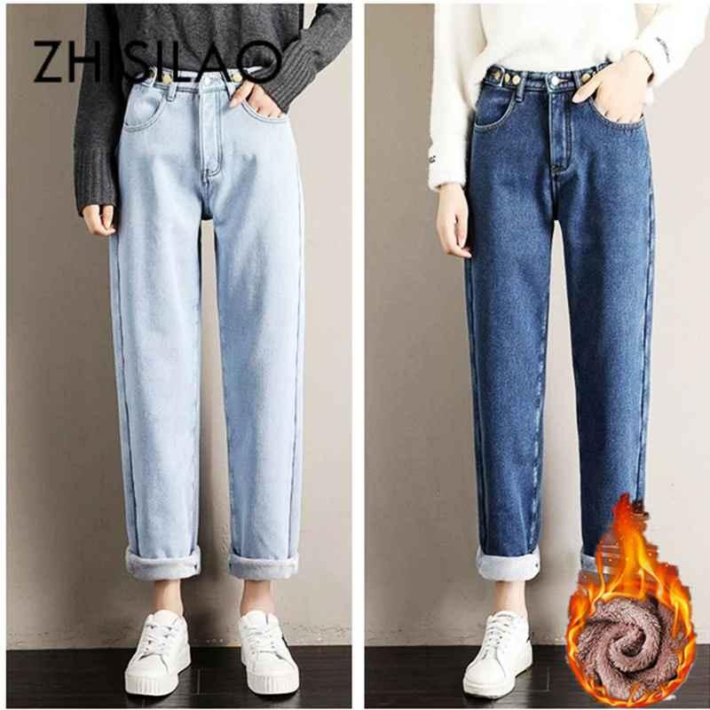 Jeans vintage fur jeans straight women winter jeans 2019 high