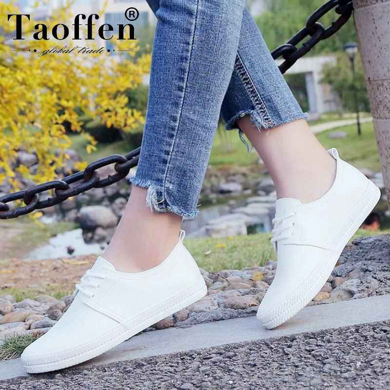 Taoffen Women Sneakers White Vulcanized Shoes Lace Up Round Toe
