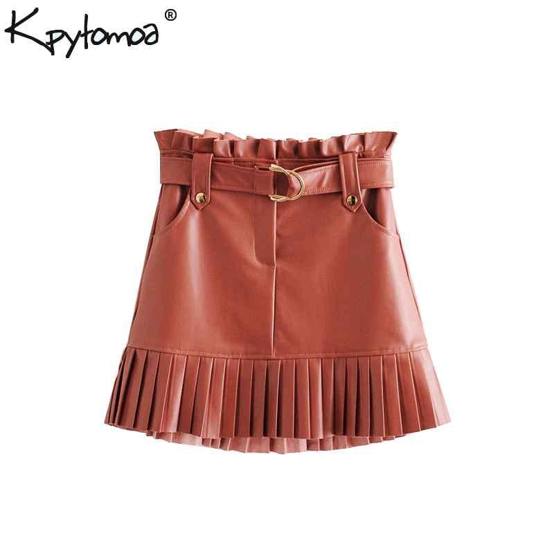 Skirts vintage stylish pleated faux leather pockets mini skirt women