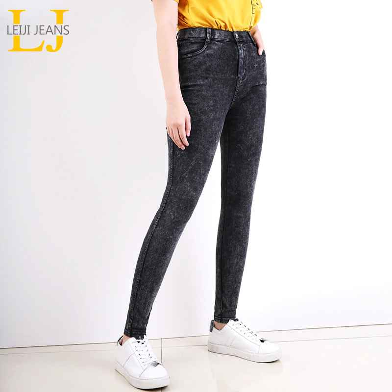 Jeans leijijeans new large size womens black snowflake mid-rise slim