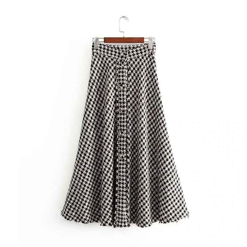 Skirts tweed women elegant long skirts 2019 winter ladies fashion