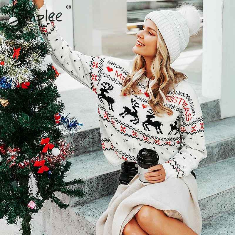 O-Neck Ugly Christmas Sweaters Women Long Sleeve Autumn Winter Deer