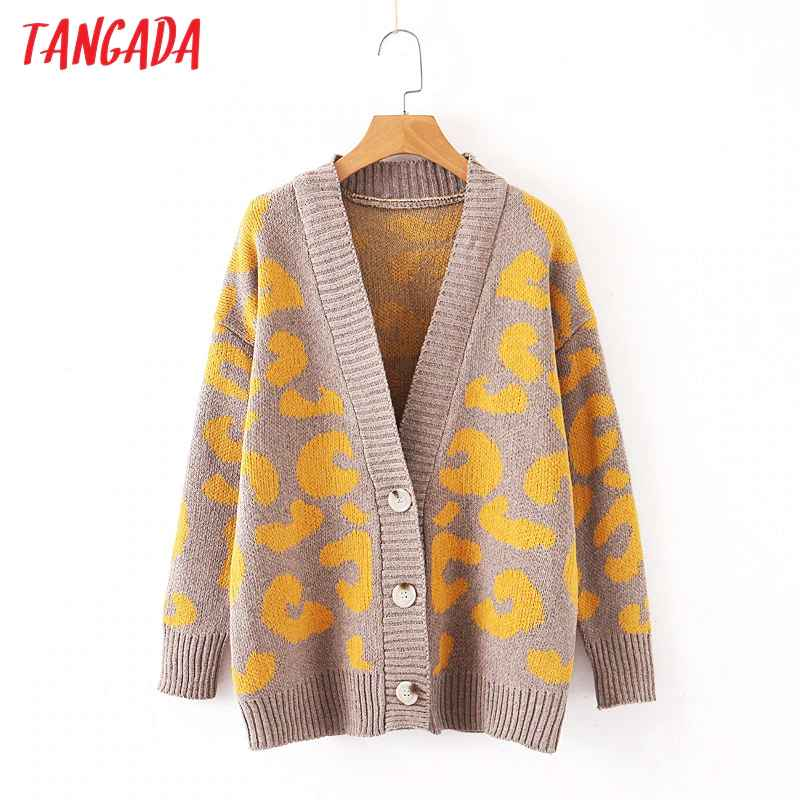 Sweaters tangada autumn winter leopard cardigan vintage 2019 women sweater