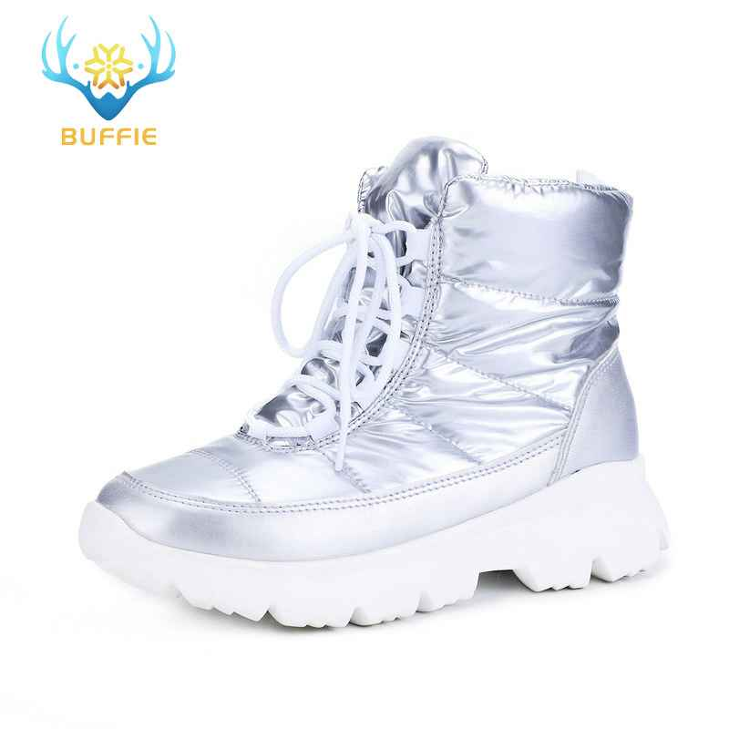 2019 Silver New Women Boots Winter Warm Snow Boots Low
