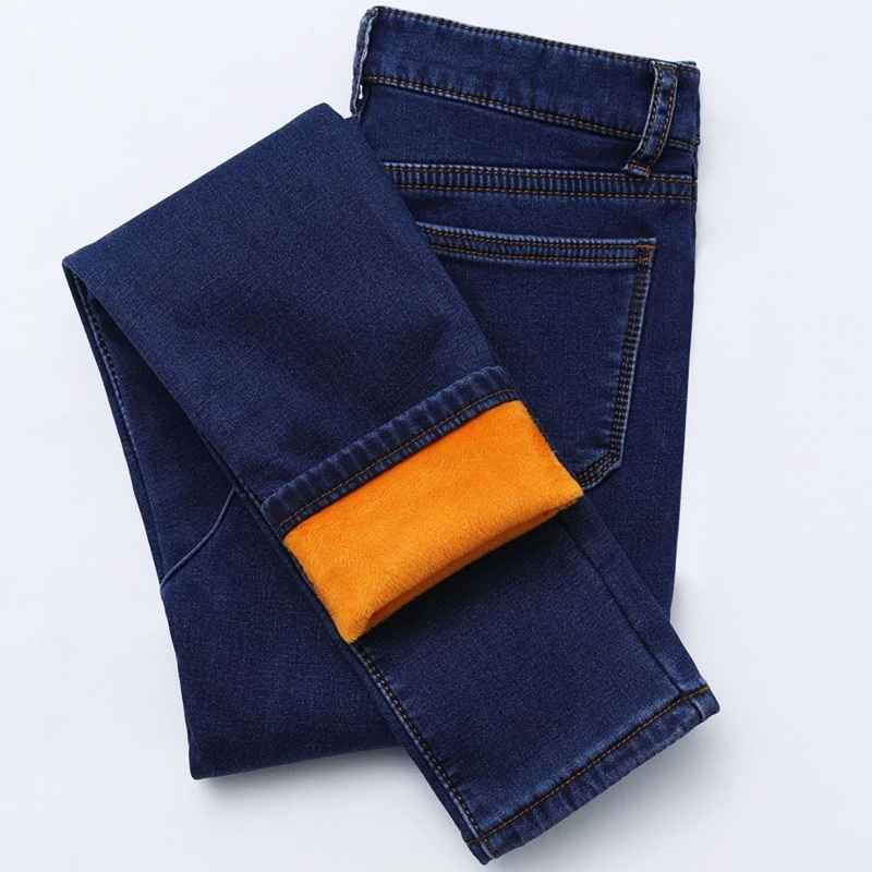 Jeans new winter thick fleece jeans for women stretch warm