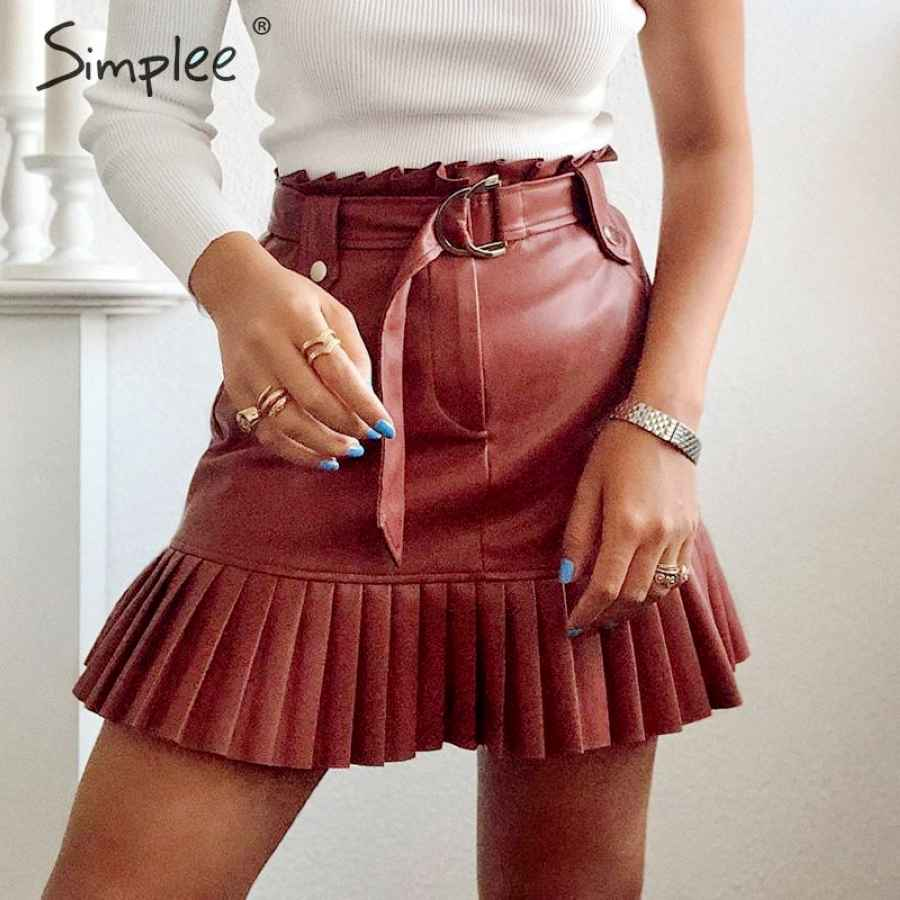 Sash Belt Pu Leather Women Skirt Ruffled High Waist Female
