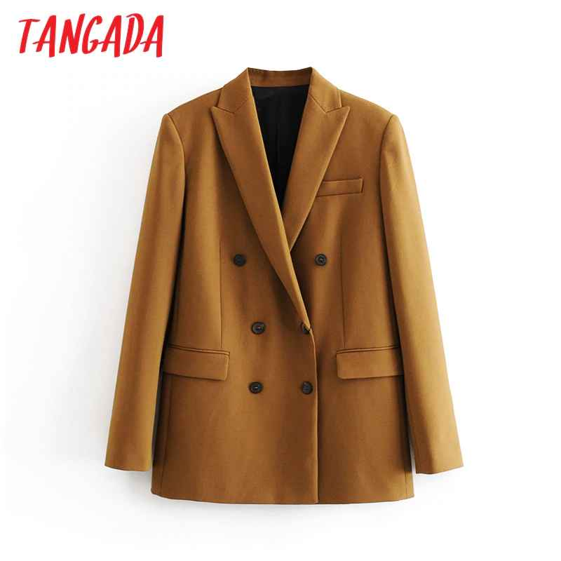 Blazers tangada women brown solid double breasted suit jacket designer