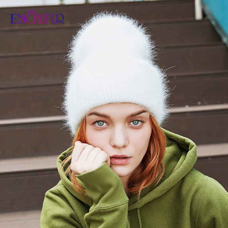 Enjoyfur Winter Hats For Women Warm Long Rabbit Fur Hair