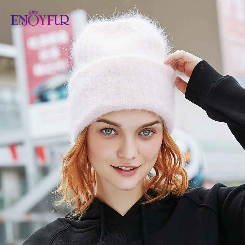 Enjoyfur Winter Rabbit Fur Hair Hats For Women Double Lining
