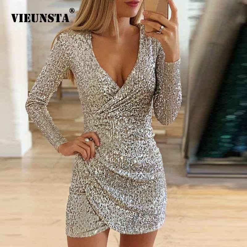 Sweaters vieunsta sexy silver glitter dresses for women 2019 deep
