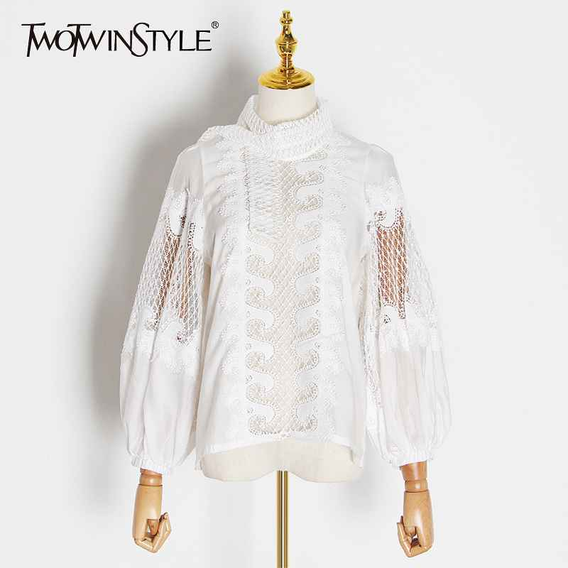 White Elegant Embroidery Women's Shirt Scarf Collar Lantern Sleeve Female