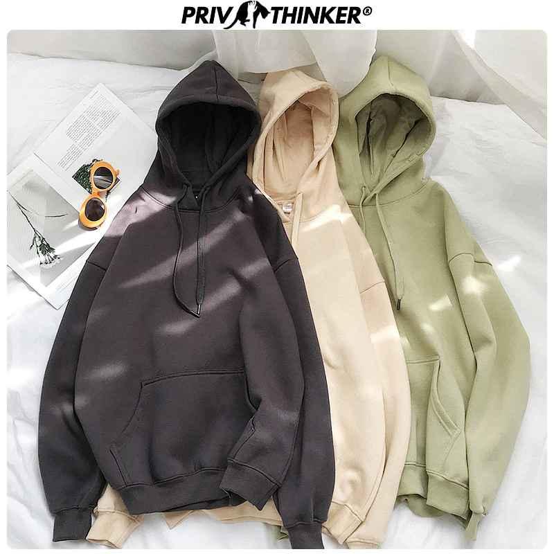 Privathinker Womans Solid 13 Colors Korean Hooded Sweatshirts Female 2019