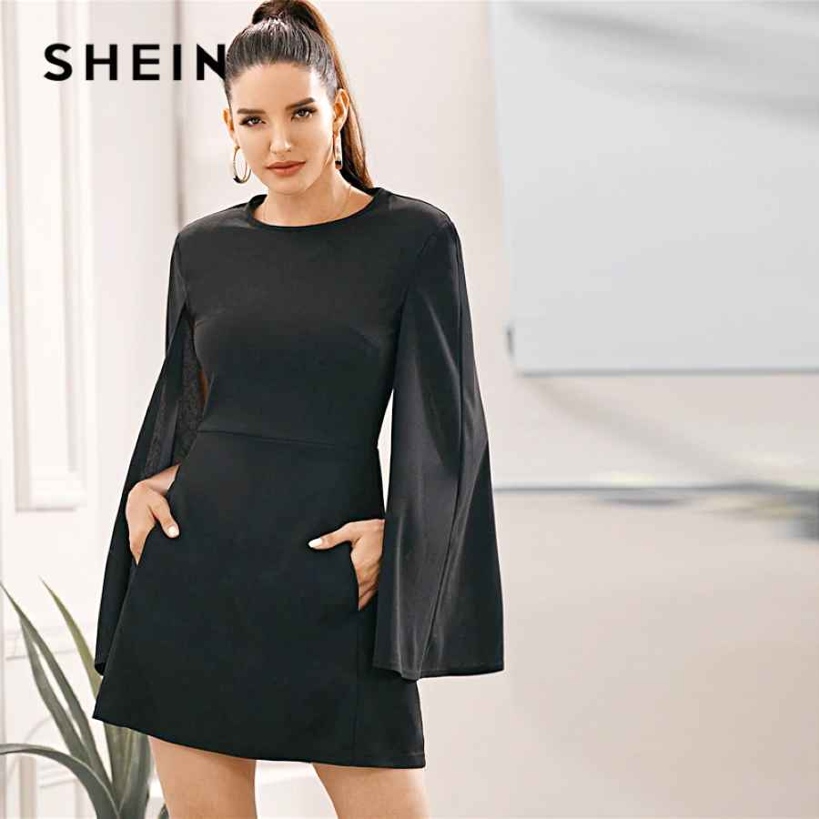 Black Cloak Sleeve Pocket Side Dress Without Belt Women Autumn