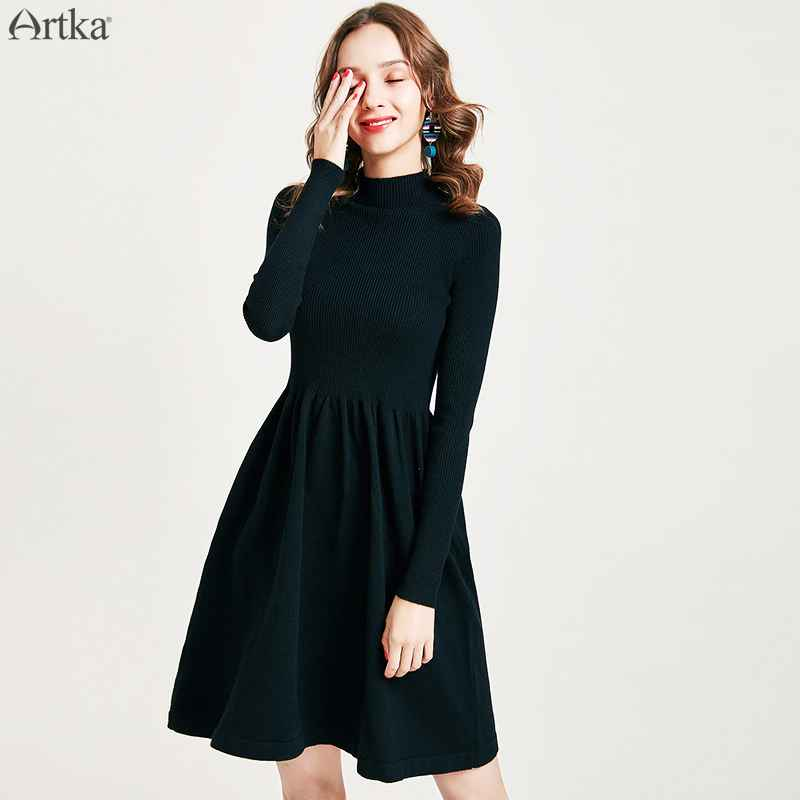 Artka 2019 Autumn Winter New Women Dress Elegant Solid Color