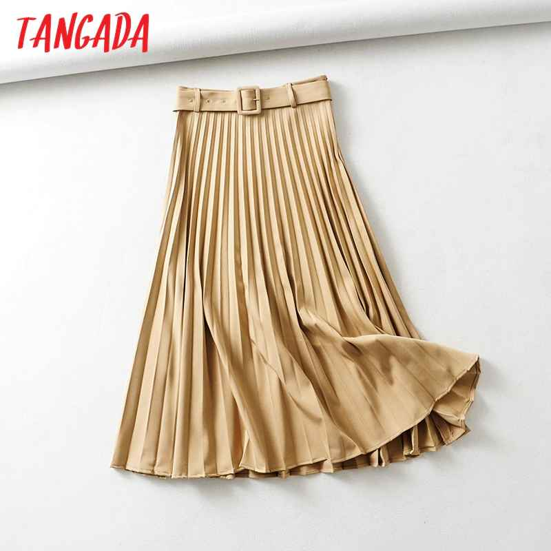 Skirts tangada women khaki pleated midi skirt vintage with belt