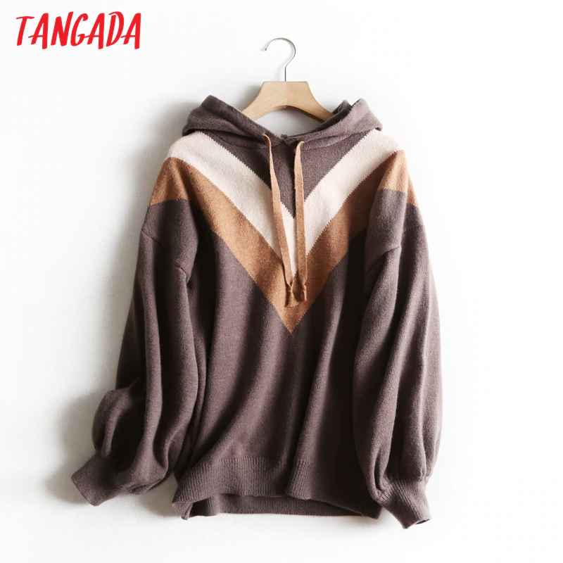 Sweaters tangada women chic striped hooded sweaters pullovers warm thick