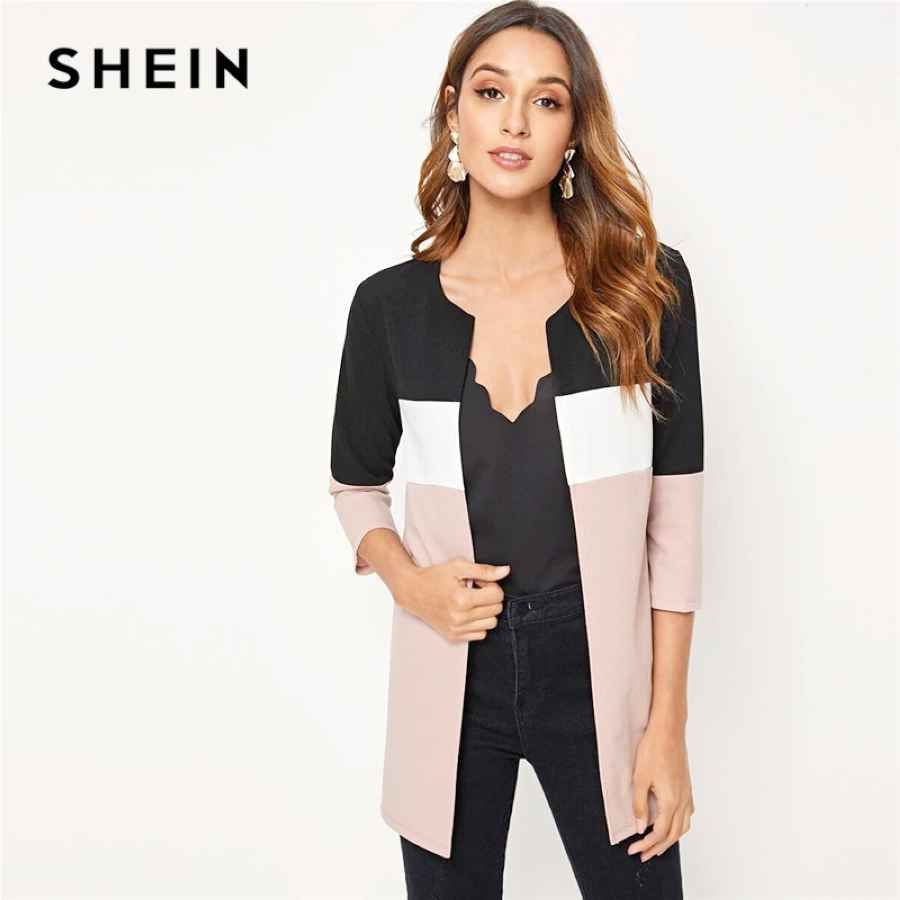 Colorblock Round Neck Cut And Sew Open Front Basic Coat