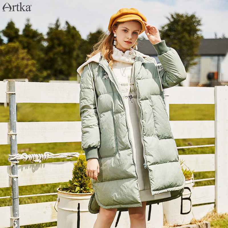 Artka 2019 Winter New Women s Down Coat 90% White Duck