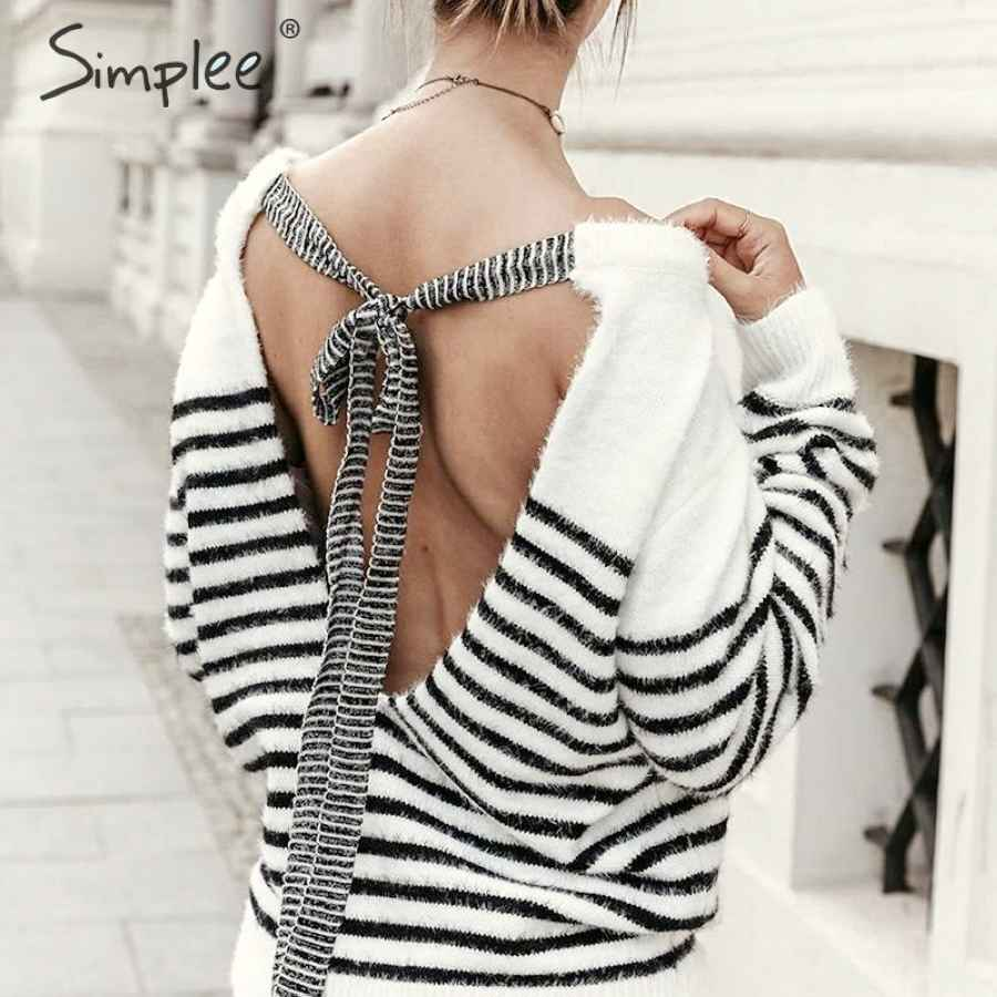 Backless Mohair Pullover Sweater Women Autumn Winter Soft Lace Up