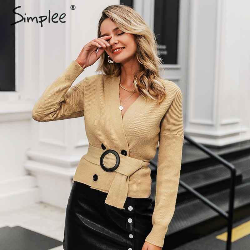Elegant V-Neck Button Sash Women Cardigan Sweater Autumn Winter Female